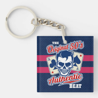 Vintage 1950s Rockabilly Skull with Aces Double-Sided Square Acrylic Key Ring