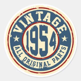 Vintage 1954 All Original Parts Round Sticker