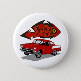 Vintage 1957 Chevy with Grafitti Text Speed 6 Cm Round Badge