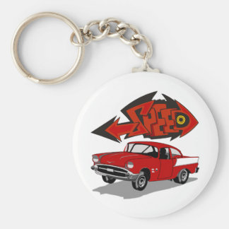 Vintage 1957 Chevy with Grafitti Text Speed Basic Round Button Key Ring