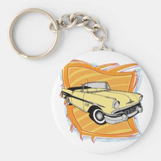 Vintage 1957 Pontiac Muscle Car Basic Round Button Key Ring
