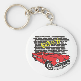 Vintage 1957 Pontiac The Bomb Grafitti Basic Round Button Key Ring