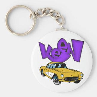 Vintage 1957 Vette Classic Corvette Grafitti KEEN Basic Round Button Key Ring