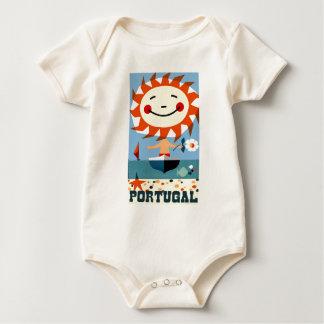 Vintage 1959 Portugal Seaside Travel Poster Baby Bodysuit