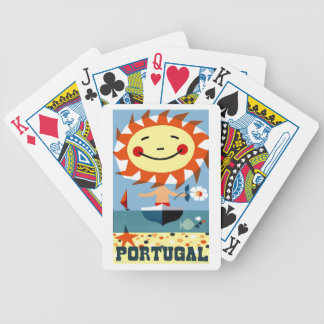 Vintage 1959 Portugal Seaside Travel Poster Bicycle Playing Cards