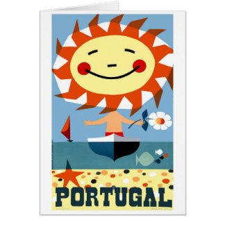 Vintage 1959 Portugal Seaside Travel Poster Card