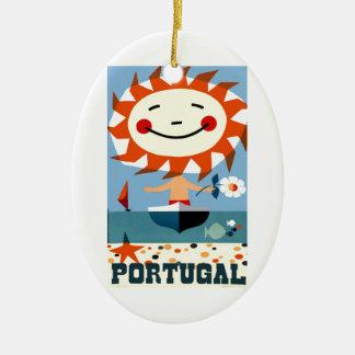 Vintage 1959 Portugal Seaside Travel Poster Ceramic Ornament