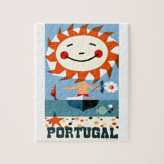 Vintage 1959 Portugal Seaside Travel Poster Jigsaw Puzzle