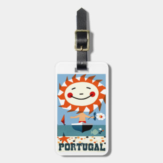Vintage 1959 Portugal Seaside Travel Poster Luggage Tag
