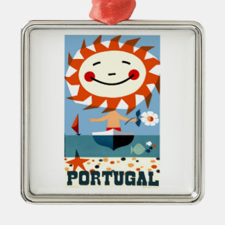 Vintage 1959 Portugal Seaside Travel Poster Metal Ornament