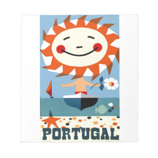 Vintage 1959 Portugal Seaside Travel Poster Notepad
