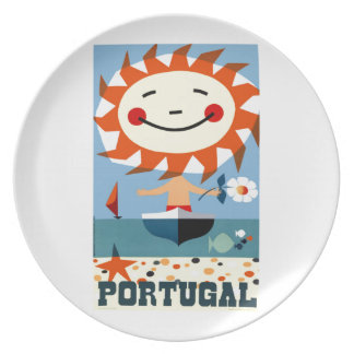 Vintage 1959 Portugal Seaside Travel Poster Plate