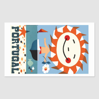 Vintage 1959 Portugal Seaside Travel Poster Rectangular Sticker