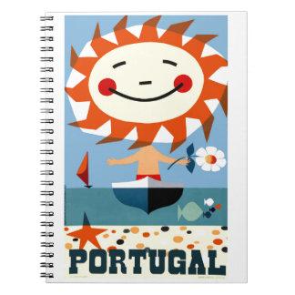 Vintage 1959 Portugal Seaside Travel Poster Spiral Notebook