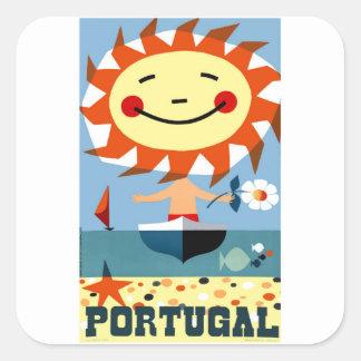 Vintage 1959 Portugal Seaside Travel Poster Square Sticker