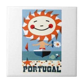 Vintage 1959 Portugal Seaside Travel Poster Tile