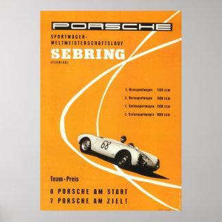 Vintage 1960s Sebring Motor Racing Poster