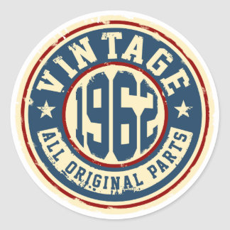 Vintage 1962 All Original Parts Round Sticker