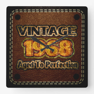 Vintage 1968 - Aged To Perfection Square Wall Clock