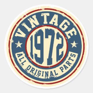 Vintage 1972 All Original Parts Round Sticker