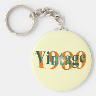 Vintage 1980 basic round button key ring