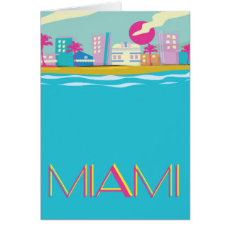 Vintage 1980s Miami Travel poster Card