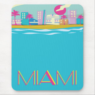Vintage 1980s Miami Travel poster Mouse Pad