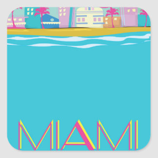 Vintage 1980s Miami Travel poster Square Sticker