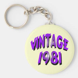 Vintage 1981 basic round button key ring