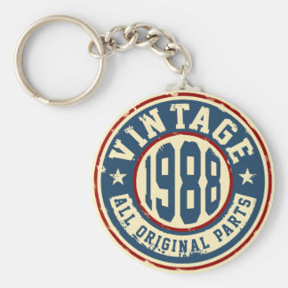 Vintage 1988 All Original Parts Basic Round Button Key Ring