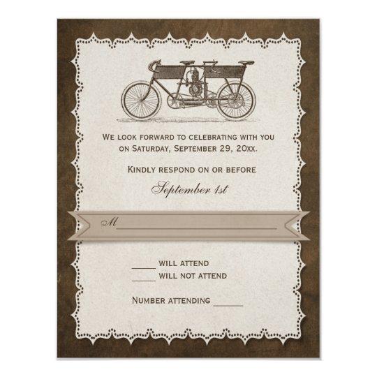Vintage 19th Century Tandem Bicycle Wedding RSVP Card