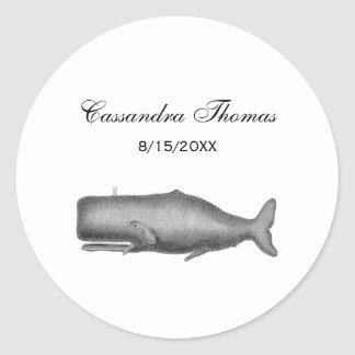 Vintage 19th Century Whale Drawing Classic Round Sticker
