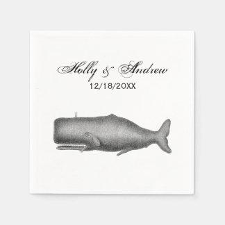 Vintage 19th Century Whale Drawing Disposable Serviettes