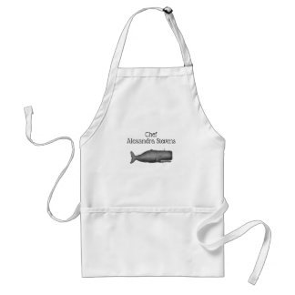 Vintage 19th Century Whale Drawing N Standard Apron