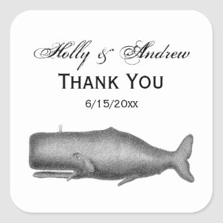 Vintage 19th Century Whale Drawing Square Sticker