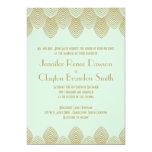 Vintage 20's Art Deco Scallop Mint Gold Wedding Invitation