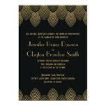 Vintage 20's Art Deco Scallop Wedding Invitation