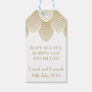 Vintage 20's Art Deco Scallop White Gold Gift Tag