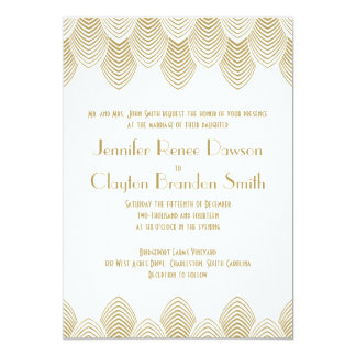 "Vintage 20's Art Deco Scallop White Gold Wedding 5"" X 7"" Invitation Card"