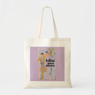 Vintage 20s flapper girl- Follow your dreams Tote Bag