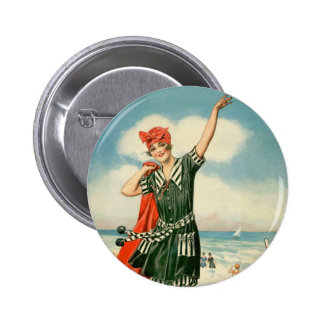 Vintage 20s Swimsuit Beach Pin Up Girl