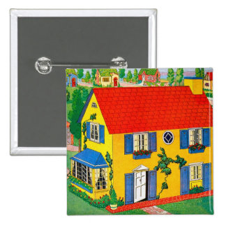 Vintage 20s Toy House Doll House Illustration Button