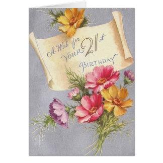 Vintage 21st Birthday Greeting Card
