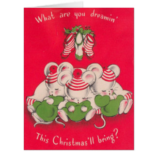 Vintage 3 Cute Mices Dreaming on Christmas Eve Card