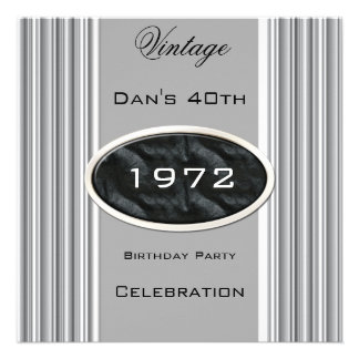 Vintage 40th Birthday Party Silver Metal Black Custom Announcements