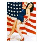 Vintage 4 th of July Pinup Postcard