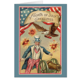 Vintage 4th of July Fireworks with Uncle Sam Greeting Card