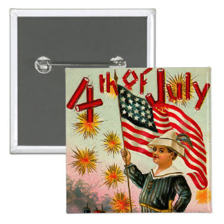 Vintage 4th of July Square Button
