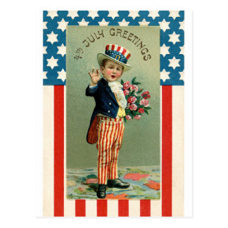 Vintage 4th of July Young Uncle Sam Postcard