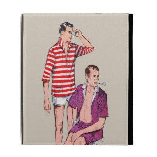 Vintage 50s Couple of Manly Men iPad Case
